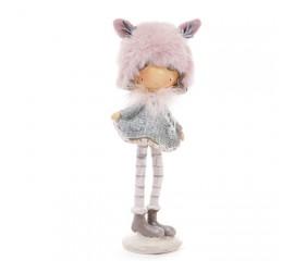 """Фигурка """"Девочка в меховой розовой шапке"""" 19 см"""