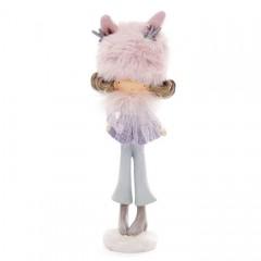"""Фігурка """"Дівчинка в хутряній рожевой шапці"""" 19 см"""