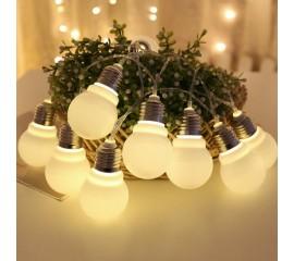 """Led гирлянда """"Лампочки с цоколем"""" 1,5 м  10 ламп теплый-белый"""