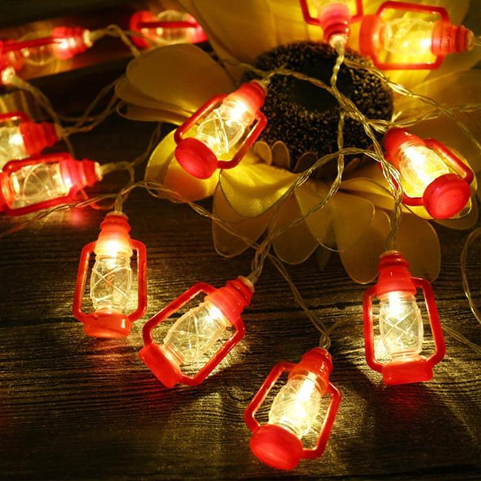 """Led гирлянда """"Керосиновые лампы"""" красная 1,5 м 10 ламп"""