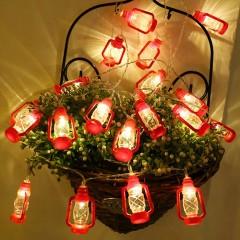 """Led гирлянда """"Керосиновые лампы"""" красная 3 м 20 ламп"""
