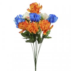 Букет крокус атласный с орхидеей оранжево-голубой