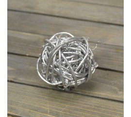 Шар из лозы серебро 5 см