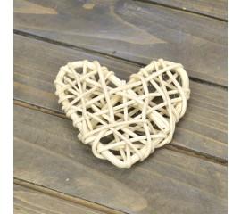 Сердечко ротанг белое 6,5 см