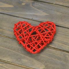 Сердечко ротанг красное 6,5 см
