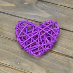 Сердечко ротанг фиолет 6,5 см