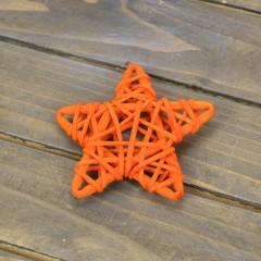 Звездочка ротанг оранжевая 6 см