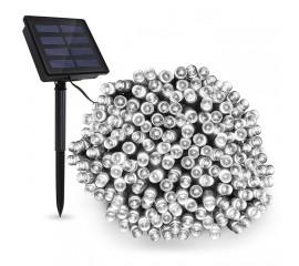 """Солнечная гирлянда """"стринг"""" 100 ламп 12 м холодный-белый, 8 режимов"""