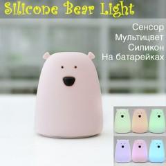 """Ночник силиконовый """"Медведь розовый маленький"""""""