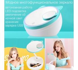 """Модное зеркало с подсветкой  """"Лисичка"""" + увеличение - мята"""