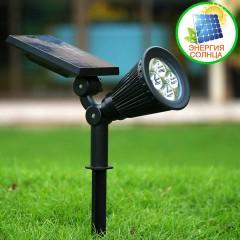Прожектор для ландшафтной подсветки на солнечной батарее - холодный белый