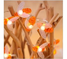 "Led гирлянда ""Пчелки"" 10 ламп 1,5 м теплый-белый"