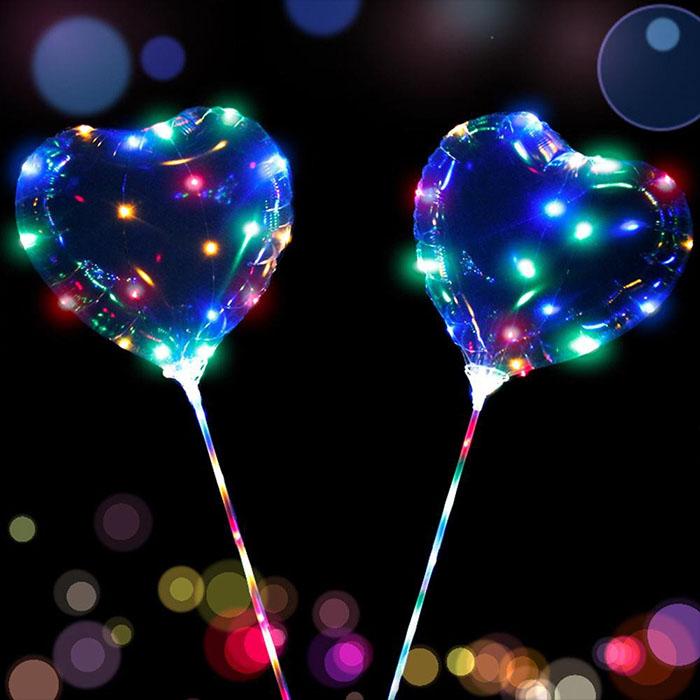 Воздушный шар в виде сердца на хлысте с подсветкой