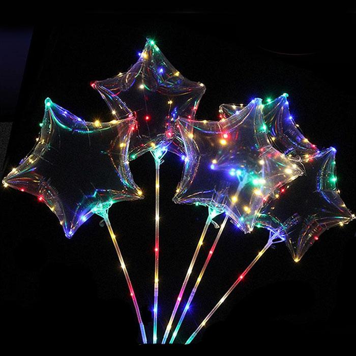 Воздушный шар в виде звезды на хлысте с подсветкой