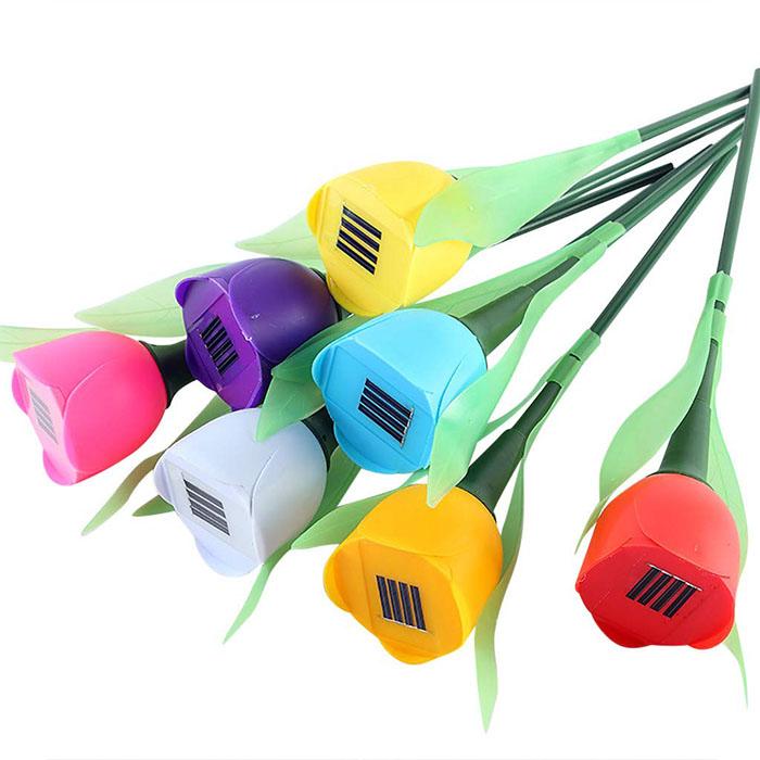 """Газонный светильник """"Тюльпан"""" на солнечной батарее, фиолетовый"""