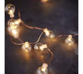 LED нить со стеклянными шариками 20 светодиодов, 2 м. теплый белый