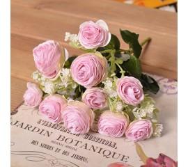 Букет мини-камелия махровая нежно-розовая