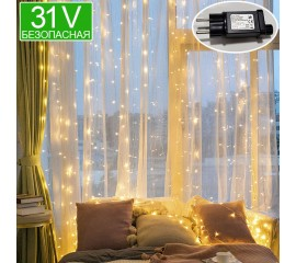 Безопасная светодиодная штора 3 х 3 м, теплый-белый, 31V