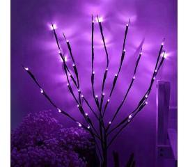 Декоративная ветка с подсветкой, 70 см. 20 ламп - фиолетовая