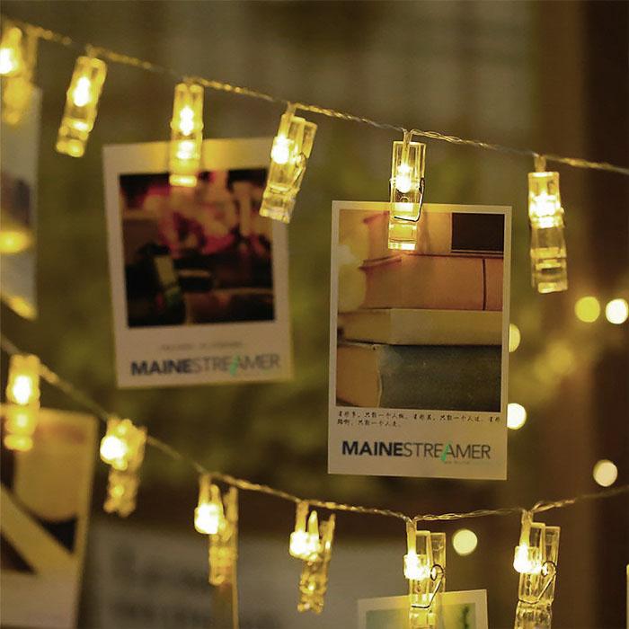 "LED гирлянда ""Прищепки"" теплый белый, 10 ламп, 1,5 м. usb"
