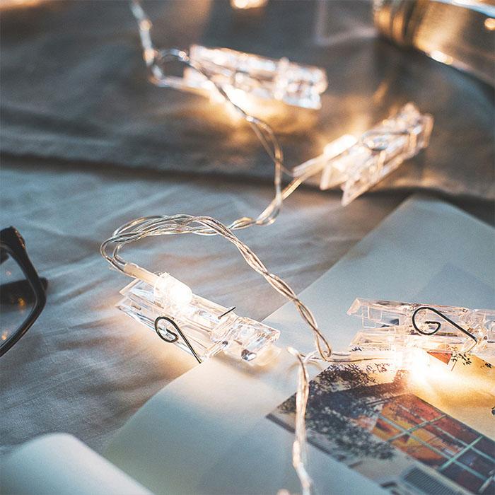 "LED гирлянда ""Прищепки"" - теплый белый 35 ламп, 5 м"