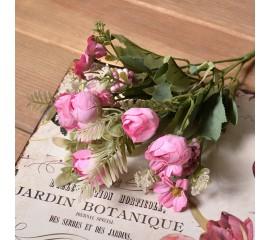 Букет ранункулюс с ромашкой - розовый