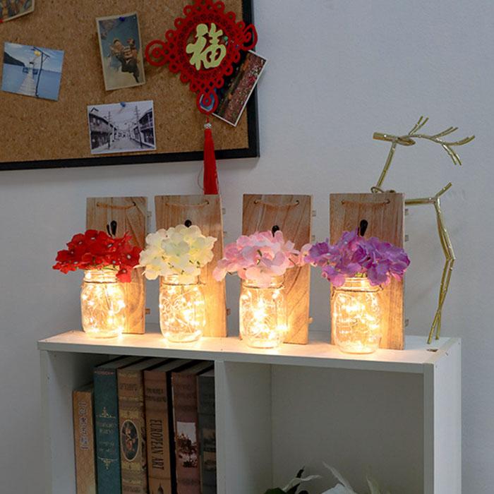 Настенная LED композиция с красным  цветком