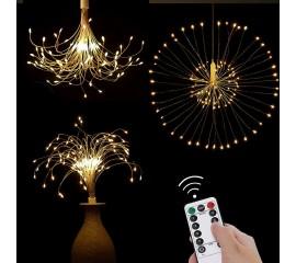 """Подвесной LED декор """"Мерцающие лучи"""" 100 л, 50 линий, на батарейках, теплый-белый"""