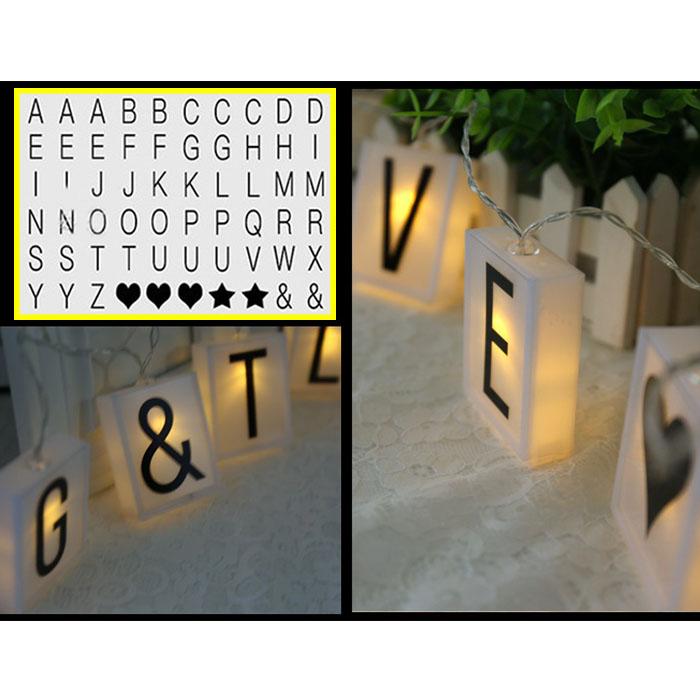 Гирлянда из 10-ти мини лайтбоксов с заменяющимися буквами и символами