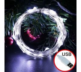 LED нить - 10 м 100 ламп, белый, USB
