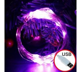 LED нить - 10 м 100 ламп, фиолетовый, USB