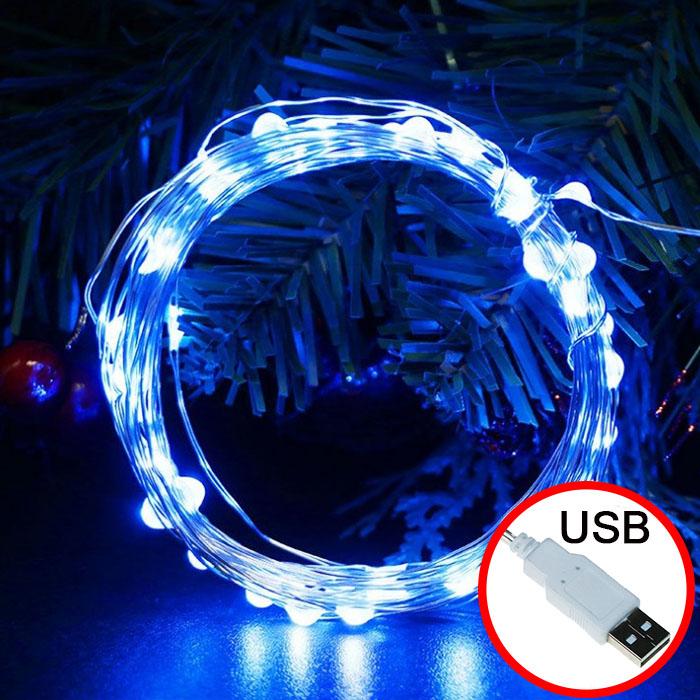 LED нить - 10 м 100 ламп, голубой, USB