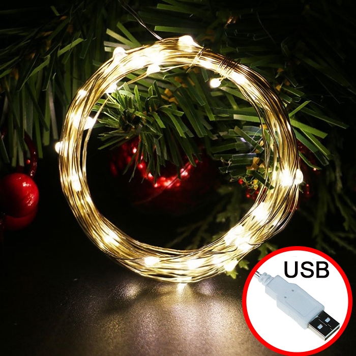 LED нить - 10 м 100 ламп, теплый-белый, USB