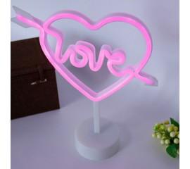"""Светодиодный ночник """"Неоновое сердце-love"""", usb / батарейки"""