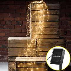 Свисающие led нити на солнечных батареях 100 led, 5 линий по 2м, 8 режимов свечения, теплый белый