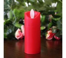 LED свеча с реалистичным эффектом огонька, красная 11 см