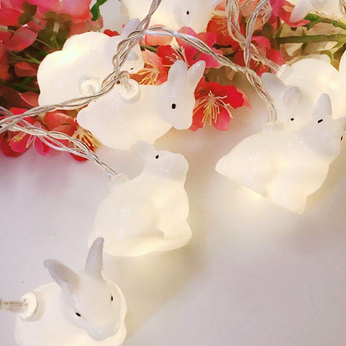 "LED гирлянда ""Кролики"" 10 ламп 1,5 м теплый-белый"