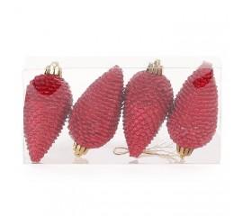 Набор шишек 8 см - красные