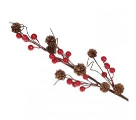 Ветка с шишками и ягодками 60 см