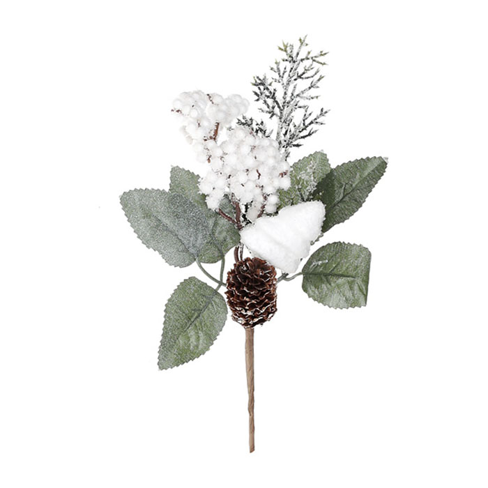 Веточка с белыми ягодками и хвоей 16 см, 4 вида
