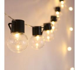 """Гирлянда """"Лампочки с черным патроном"""" 10 ламп 2 м на батарейках"""