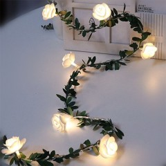 Гирлянда с листиками и розочками 50 ламп 7,5 м - usb