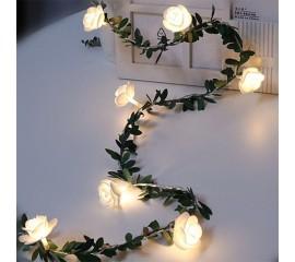 Гирлянда с листиками и розочками 40 ламп 6 м - usb