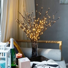 Декоративная ветка с подсветкой, 70 см. 20 ламп - теплый белый