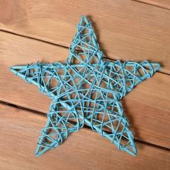 Звезда ротанговая 25 см - голубая