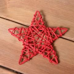 Звезда ротанговая 15 см - красная