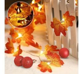 """Гирлянда """"Осенние листики двойные"""" 35 ламп 5 м USB"""