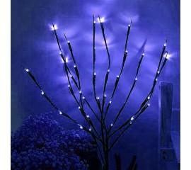 Декоративная ветка с подсветкой, 70 см. 20 ламп - синяя