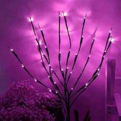 Декоративная ветка с подсветкой, 70 см. 20 ламп - розовая