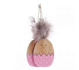 Набор подвеска яйца с перьями - розовые
